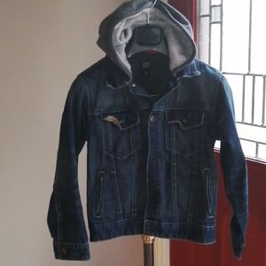 GAP Blue Denim Jacket with Gray Hood Size LG 10